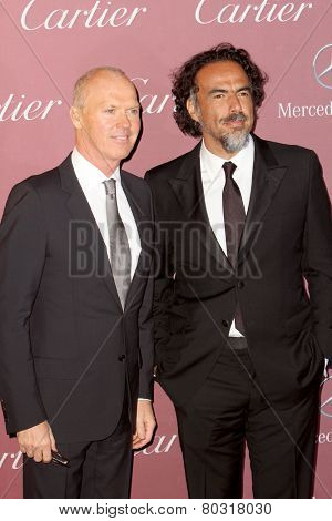 PALM SPRINGS, CA - JAN 3:Michael Keaton and Alejandro Gonzalez Inarritu arrive at the 2015 Palm Springs Film Festival Gala at the Palm Springs Convention Center on January 3, 2015 in Palm Springs, CA.