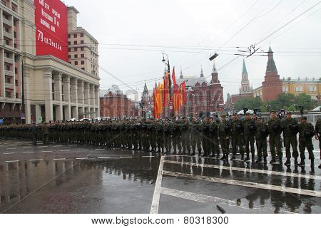 Cordon Of Police And The Soldier Of Internal Troops In Front Of The Kremlin During Procession Of Com