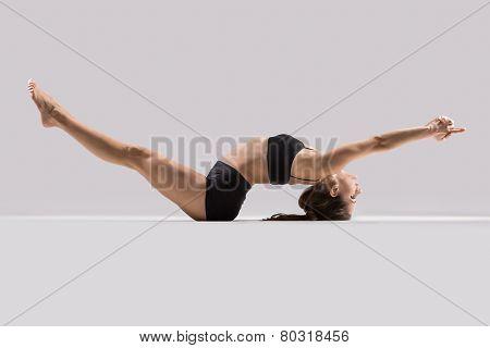 Yogi Gymnast Girl Performs Stretching Exercise