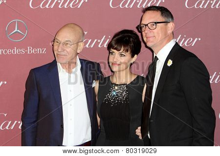 PALM SPRINGS, CA - JAN 3: Patrick Stewart, Carla Gugino & Matthew Lillard arrives at the 2015 Palm Springs Film Festival at the Palm Springs Convention Center on January 3, 2015 in Palm Springs, CA.