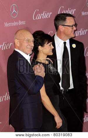 PALM SPRINGS, CA - JAN 3: Patrick Stewart, Carla Gugino & Matthew Lillard arrives at the 2015 Palm Springs International Film Festival Awards Gala on January 3, 2015 in Palm Springs, CA.
