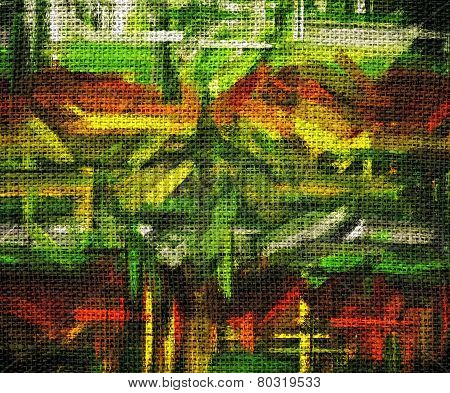 Burlap Fabric Canvas with Paint Brush Stroke Background