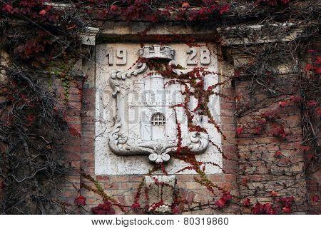 ZAGREB, CROATIA - NOVEMBER, 01: Coat of arms of the city of Zagreb in the cemetery Mirogoj, on Nonember 01, 2013, in Zagreb, Croatia