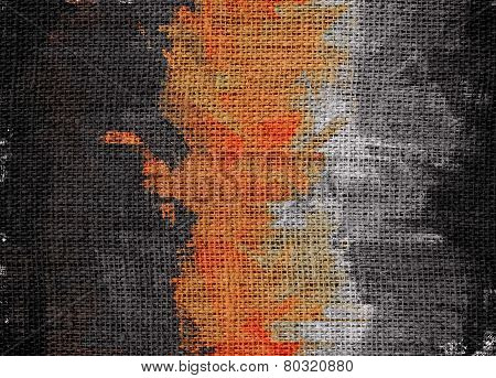 Burlap Fabric Textured with Paint Brush Stroke Background