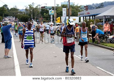 Spectators Encouraging Participants Running In 2014 Comrades Marathon Road Race