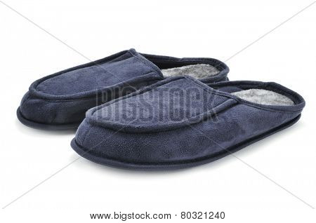 a pair of warm slippers on a white background