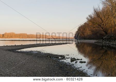 Danube Landscape At Sunset