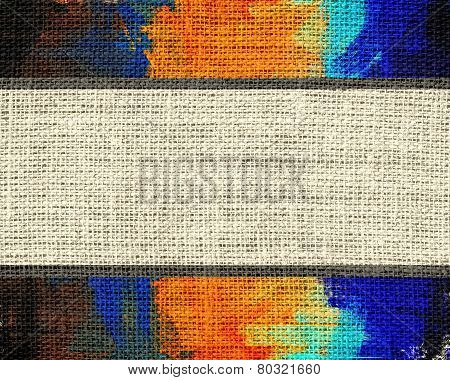 Burlap Fabric Rustic Textured with Paint Brush Stroke Background