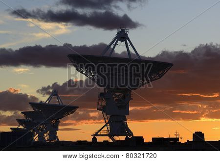 Radio Telescopes at Sunset in New Mexico