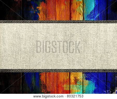 Banner Canvas Textured with Paint Brush Stroke Wood Background
