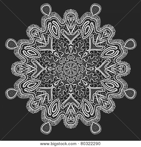 Ornamental round lace, circle background. Vector illustration