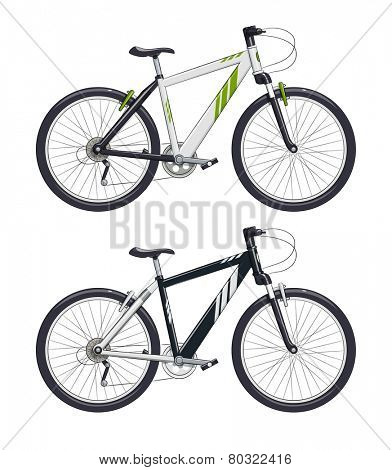 Mountain bike. Sport becycle. Eps10 vector illustration. Isolated on white background