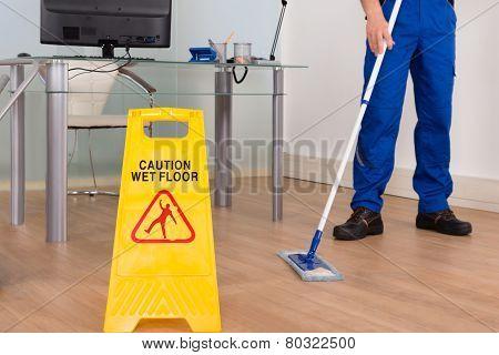 Wet Floor Sign In Office