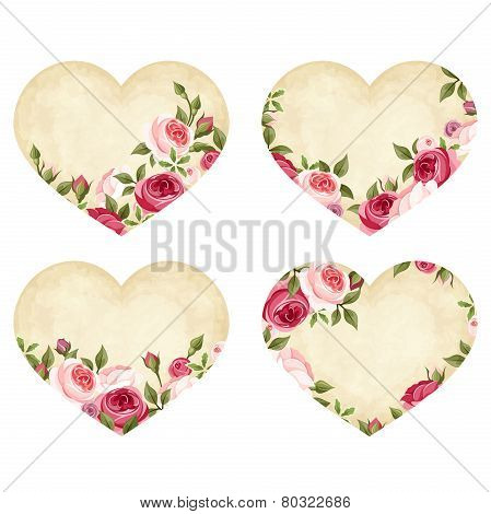 Valentine's day parchment hearts with roses. Vector eps-10.