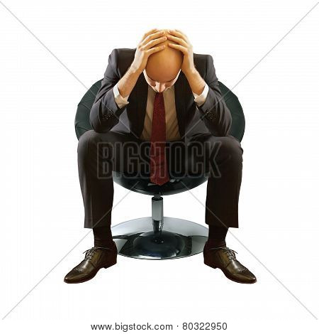Bald Businessman In Depression