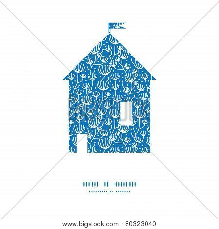 Vector blue white lineart plants house silhouette pattern frame