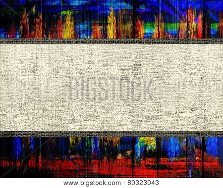 Banner Fabric Canvas Textured with Paint Brush Stroke Wood Background