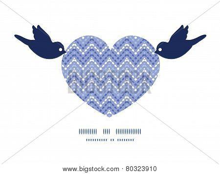 Vector purple drops chevron birds holding heart silhouette frame pattern invitation greeting card te