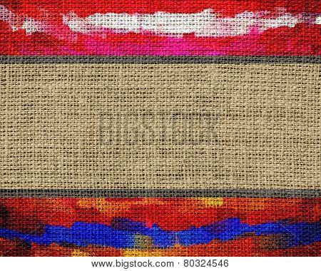 Burlap Fabric Jute Textured with Paint Brush Stroke Background