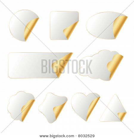 White-gold Stickers In Different Shapes