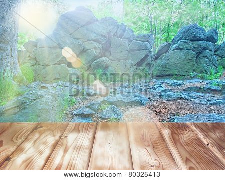 Group Of Rocks With Wooden Floor