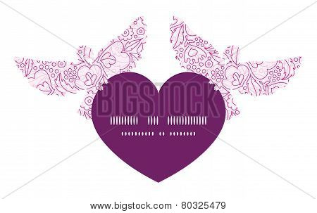Vector pink flowers lineart birds holding heart silhouette frame pattern invitation greeting card te