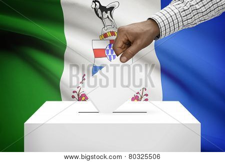 Voting Concept - Ballot Box With Canadian Province Flag On Background - Yukon