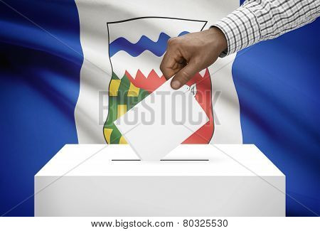 Voting Concept - Ballot Box With Canadian Province Flag On Background - Northwest Territories