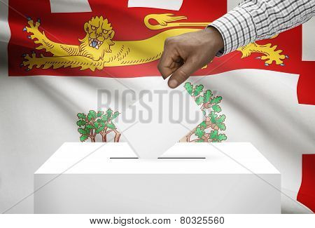 Voting Concept - Ballot Box With Canadian Province Flag On Background - Prince Edward Island