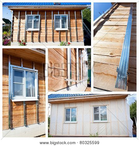 Collage With Process Of External Wall Insulation In Wooden House