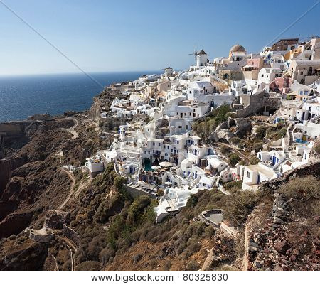 Oia Village, Santorini, View With Windmills