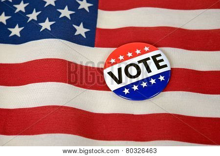 patriotic voting pin on flag