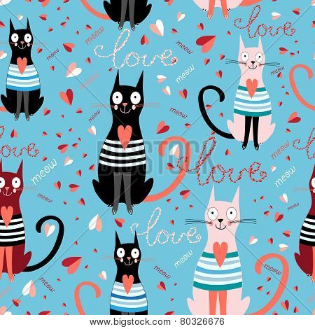 Pattern In Love Cats