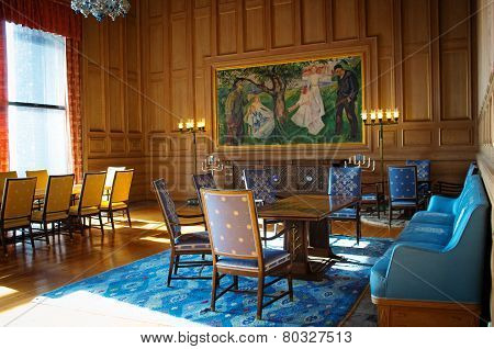 Interior of the Oslo city hall, Norway
