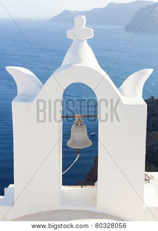White Bell Tower At Oia, Santorini, Greece.