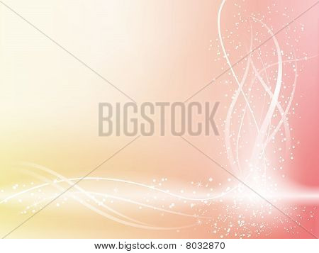 Pink Beautiful Pastel Background With Stars And Swirls.