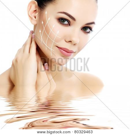 Pretty female against a white background, isolated, copyspace