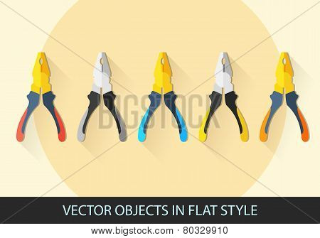 Set Of Vector Pliers In A Flat Style With Shadow.