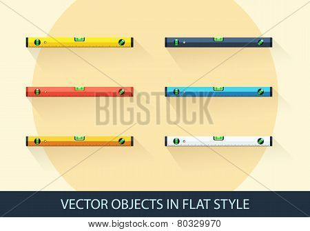 Set Of Vector Level Tool In A Flat Style With Shadow.