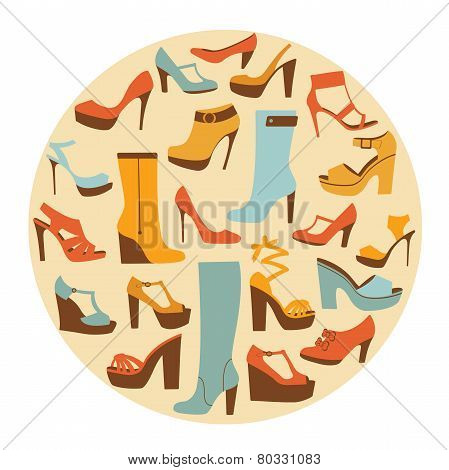 Colorful stylish shoes round composition