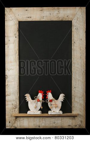 Vintage Easter Chicken Roosters Chalkboard Reclaimed Wood Frame Isolated On Black
