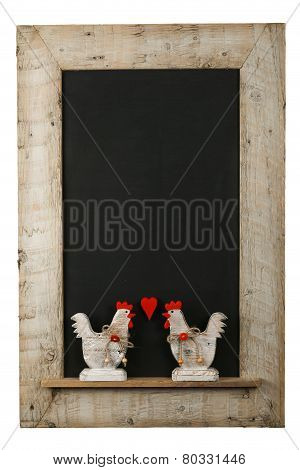 Vintage Valentines Love Roosters Chalkboard Reclaimed Wood Frame Isolated On White