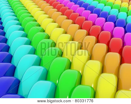 Abstract 3D rainbow background made from colorful shining plastic cylinder