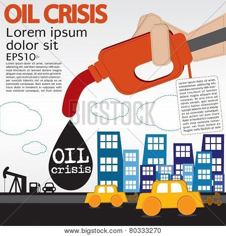 Oil Crisis Illustration Concept.
