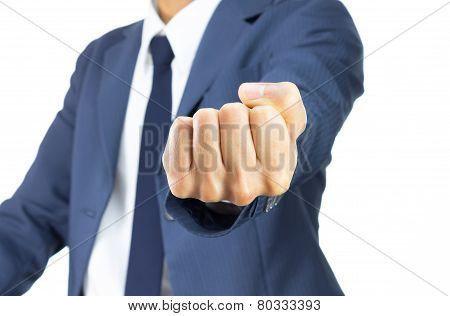 Businessman Fist Isolated On White Background On Horizontal View