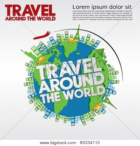 Travel Around The World Conceptual Illustration.