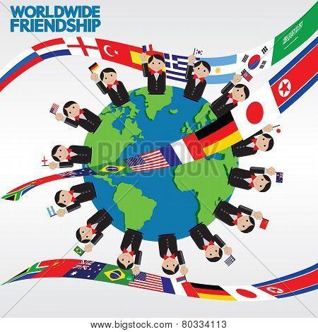Worldwide Friendship Conceptual Illustration.