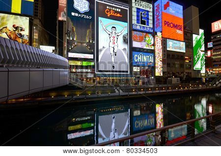 The Glico Man Light Billboard And Other Light Displays In Dontonbori, Osaka
