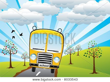 school bus and sunrise