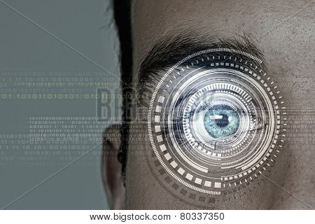 Close up of man eye in process of scanning